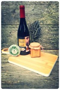 Pakket plank-wijn-choco-jam